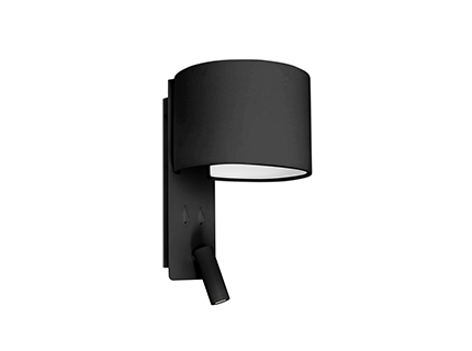 FOLD Black wall lamp with LED reader