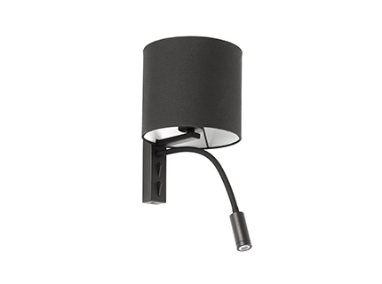 TIRA Black wall lamp with LED reader