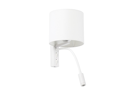 TIRA White wall lamp with LED reader